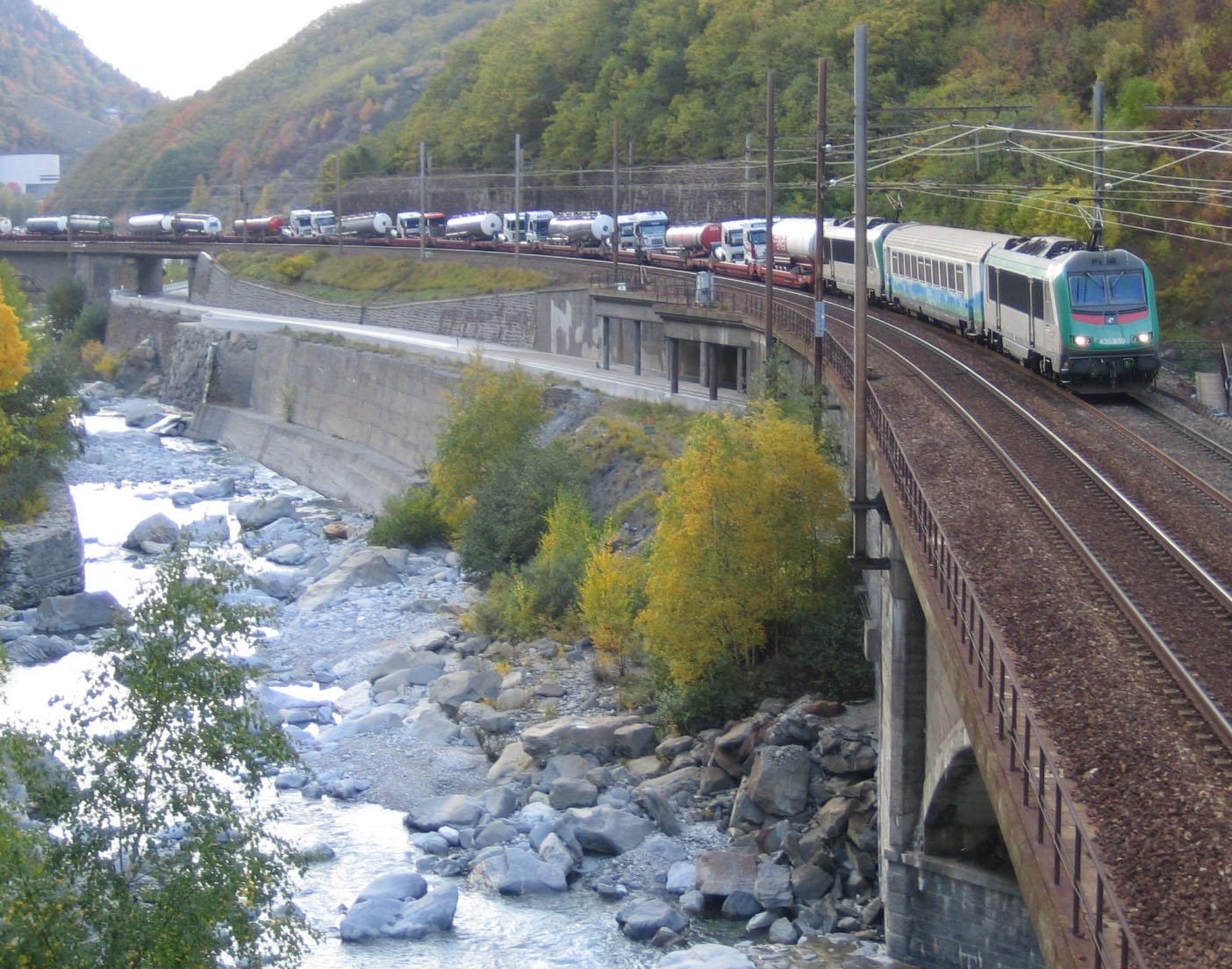 Alpine Rail Motorway near Orelle