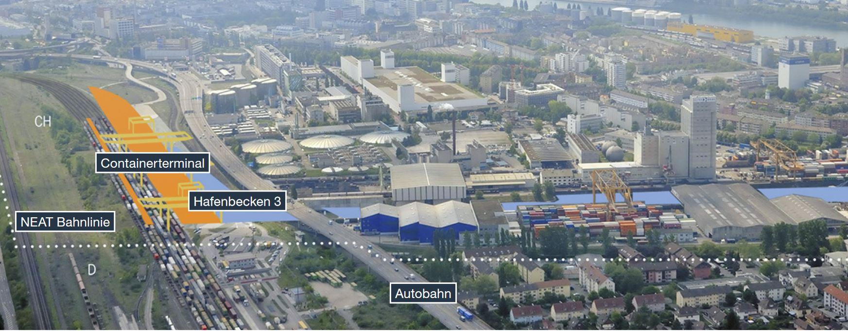 Bird's eye view of Gateway Basel Nord